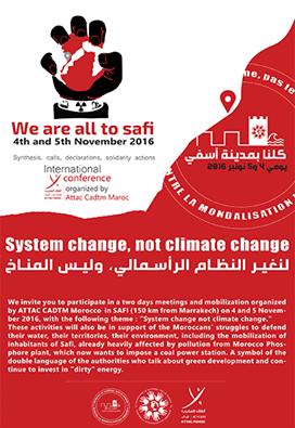 صورة الندوة الصحافية التي نظمتها أطاك المغرب عشية تنظيمها للندوة الدولية حول المناخ