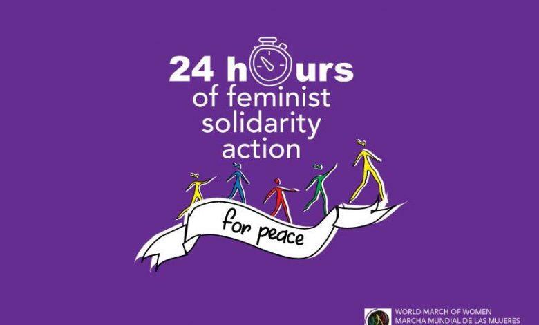 صورة المسيرة العالمية للنساء: نعم للسلم، لا للحرب – نداء لأربع وعشرين 24 ساعة من الحراك التضامنيّ النّسوي عبر العالم.